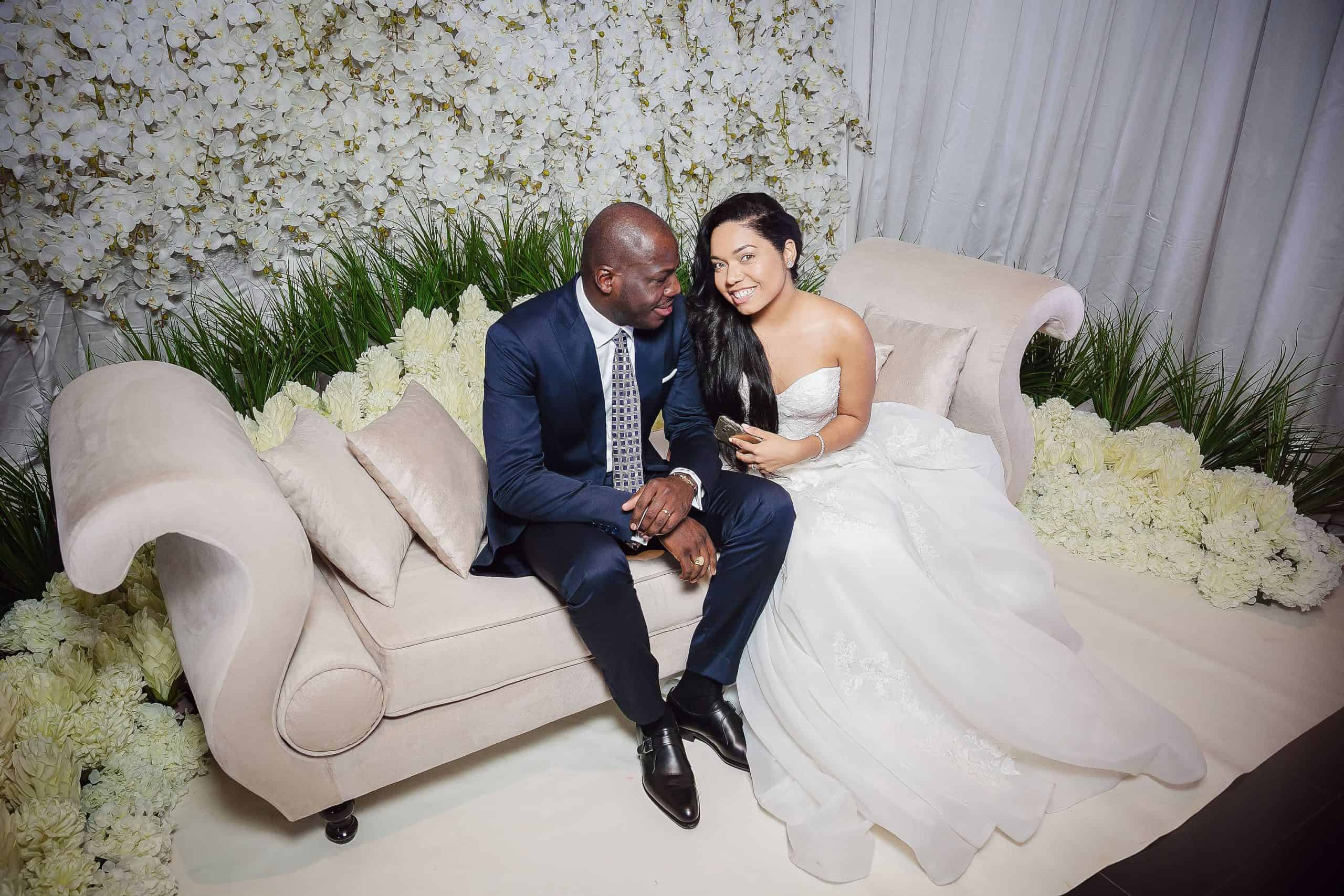 Classic White and Crystal Wedding In Gabon